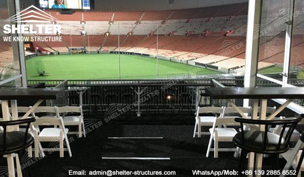 10 x 25m Dubla Decker VIP Seat Canopy Cort - Acoperiș curbat Două structură de poveste -1