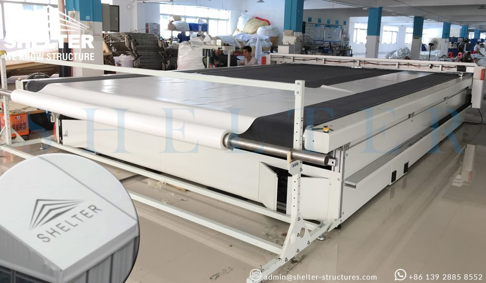 Shelter clear span tent factory cnc cutting machine
