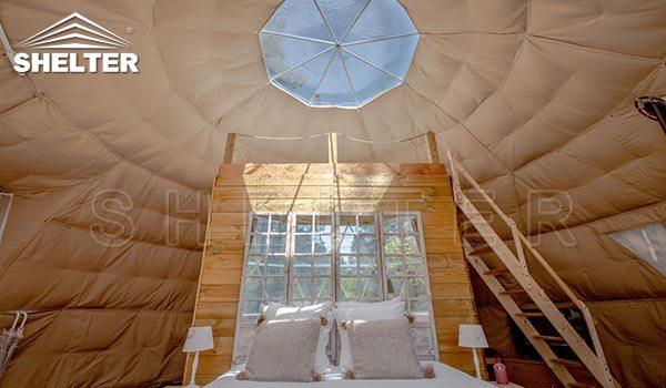 Perete despărțitor din lemn pentru casă cu cupole de 7m